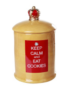 Keep Calm and Eat Cookies Ceramic Cookie Jar with Air Tight Lid 22cm Tall