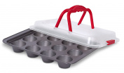 Internet's Best Cupcake Baking Pan with Lid and Handles   12 Cup   Non-Stick Muffin Tray with Cover   Dishwasher Safe   Red & Grey