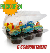 6 compartment Cupcake boxes, Clear Cupcake and Muffin Containers with Hinged Lid, Strong and Sturdy, BPA Free,6 Cavity Cupcake Container , Cupcake boxes