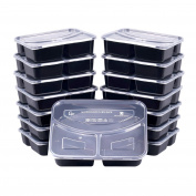 Meal Prep Containers, [15 Pack] Bayco 3 Compartment Food Prep Containers, lunch containers with lids - BPA Free, Leak Proof, Stackable, Reusable, Microwave, Dishwasher & Freezer Safe