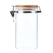 AUYE Glass Storage Jar,Coffee Bean & Kitchen food Container With Clamp Airtight wood Lid