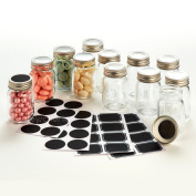 -- LAUNCH SALE -- Hayley Cherie - 70ml Mini Glass Mason Jars (Set of 12) with Chalkboard Labels