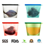 Reusable Silicone Food Storage Preservation Bags Container Versatile Cooking Bag for Freeze, Steam, Heat, Microwave Fruits Vegetables Meat Milk and More