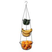 Deppon 3-Tier Wire Fruit Hanging Basket, Vegetable Kitchen Storage Basket, Iron Wire