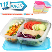 Meal Prep Containers 2 Compartment Lunch Boxes Food Storage Container with Lids,BPA Free Plastic Bento Box Set of 12,Portion Control Divided Cover,Reusable,Microwave Dishwasher Freezer Safe