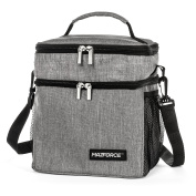 MAZFORCE Insulated Lunch Box Lunch Bag for Men Women Adults with Divided Dual Compartment - Thermal Lunchbox Cooler for Kids Teens Boys - Double Decker Tote - Adult Bag for Meal Prep Office or School