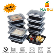 NutriBox [20 value pack] single one compartment 350ml mini Meal Prep Food Storage Containers - BPA Free Reusable Lunch bento Box - Microwave, Dishwasher and Freezer Safe - for School Work or Trips