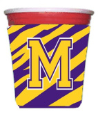 Tiger Stripe - Purple Gold Letter M Monogram Initial Red Solo Cup Beverage Insulator Hugger