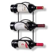 WALLNITURE 3-Sectional Wall Mounted Wine Liquor Bottle Rack Wrought Iron Black 41cm