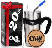 Insulated Travel Coffee Thermal Mug - 590ml Double Wall Vacuum Drinking Stainless Steel Tumbler Cup with Spill Proof Lid, Handle and 8mm Straw - Silicone Tip - Free Bonus Coaster by Chill Cups