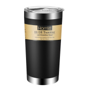 Homitt 590ml Stainless Steel Tumbler Double Wall Insulated Vacuum Tumbler, Sweat Free, Powder Coated Design with Splash Proof Sliding Lid for Both Cold & Hot Drinks - Black