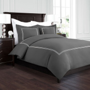 Beckham Hotel Collection Luxury Soft Brushed 2100 Series Embroidered Microfiber Duvet Cover Set with Beautiful 2-Stripe Embroidery - Hypoallergenic - Full/Queen - Grey/Silver