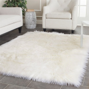Dikoaina Classic Soft Faux Sheepskin Chair Cover Couch Stool Seat Shaggy Area Rugs For Bedroom Sofa Floor Fur Throw Blanket Ivory White