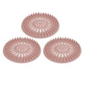 Unique Bargains 130mm Diameter TPR Rubber Drain Hair Catcher Strainer Pink 3pcs