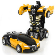 HaloVa Toy Car, Robot Deformation Car Model Toy for Children, Kids and Toddlers,Crash to transform, Yellow
