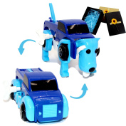 Robot Dog Toy Transform Car Toy Creative Vehicles Clockwork Wind up Toys Gift for Kids by Latburg