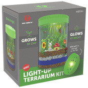 Light-up Terrarium Kit for Kids with LED Light on Lid | Create Your Own Customised Mini Garden in a Jar that Glows at Night | Great Science Kits Gifts for Children | Kids Toys | by Mini Explorer