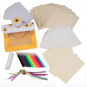 Wood Flower Press Kit - No Screws for Easier Crafting - Includes bookmark, ribbons, notecards, envelopes, markers, blotting papers, cardboards, glue stick)