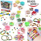 Joyin Toy 6000 Pieces DIY Beads Kit; 28 Different Types & 4 Colour Strings Acrylic DIY Beads for Necklace, Bracelet Craft, Mardi Gras Beads, Children Arts & Crafts, Jewellery Making Beads.