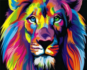 Tonzom Wooden Framed Paint By Number Kits 41cm x 50cm Canvas Diy Oil Painting for Kids, Students, Adults Beginner with Brushes and Acrylic Paints – Neon Lion