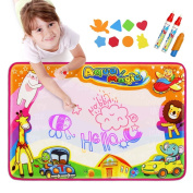 Aqua Doodle Pad, Baztoy Kids Toys Large Water Drawing Mat Toddlers Painting Board Magic Writing Mats with 6 Colours 2 Magic Pens and 1 Brush for Boys Girls Educational Gift Size 90cm X 60cm