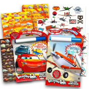 Disney Cars and Planes Colouring and Activity Super Set Kids Toddlers -- 2 Pixar Mess Free Colouring Books with Magic Pens, 50 Planes Temporary Tattoos and Over 500 Cars Stickers