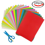 Cocoboo 100 Sheets Bulk Colour Art Papers A4 Construction Paper and 1pcs Plastic Safety Scissors, Craft Supplies for Kids