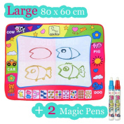 Large Doodle Mat, Large Magic Water Drawing Painting Writing Mat Pad Board, 2 Pen Develop Intelligence Sketch Learning Toy Gift for Boys Girls Toddlers Kids Children 4 Colour