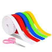 Hovnee Lego Tape 5 Pcs Lego Building Block Tape with Safe Scissors, DIY Lego City, Non-toxic, Food Grade Silicone