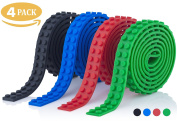 Self-Stick Silicone Block Tape Strips for Lego Brick Building & Kid's Mega Toys - Colourful, Non-Toxic, Sticky Adhesive Taping Loops Roll Set