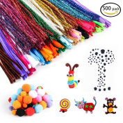 500 Pieces Pipe Cleaners Set, Including 300 Pcs 26 Colours Chenille Stems, 100 Pcs 6 Size Wiggle Googly Eyes and 50 Pcs Pom Poms for Craft DIY Art Supplies