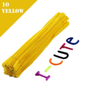 WXLAA 100pcs DIY Chenille Stems Pipe Twist Rods Cleaners Kids DIT Craft Toys Yellow