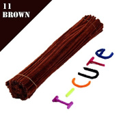 WXLAA 100pcs DIY Chenille Stems Pipe Twist Rods Cleaners Kids DIT Craft Toys Brown