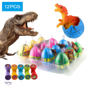 12 Pcs Dinosaur Eggs with Bonus10 Pcs Dinosaur Stamps, Kictero Crack Easter Dinosaur Eggs that Hatch in Water, Grow Eggs with Dinosaur figures Inside Toy for Boys / Girls, Birthday Party Favours