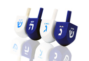Let's Play Dreidel The Hanukkah Game 4 Blue & White Solid Coloured Hand Painted Wooden Dreidels - Instructions Included! 4300