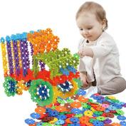 Building Blocks Toys, FIOLOM Educational Creative Building Discs Interlocking Multicolor Stem Construction Snowflakes Puzzles Christmas Gifts Sets for Kids Boys Girls Preschool 300 PCS
