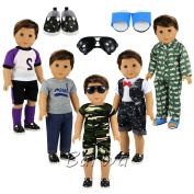 Barwa Boy Doll Clothes 5sets Boy Doll Clothes+2 pairs Shoes + 1 pair Glasses for 46cm American Girl & Boy Dolls Logan Doll Outfits