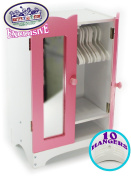 Matty's Toy Stop 46cm Doll Furniture Pink/White Wooden Armoire Closet with 10 Hangers - Fits American Girl Dolls