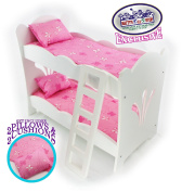 Matty's Toy Stop 46cm Doll Furniture White Wooden Bunk Beds with 2 Pink Pillows, 2 Pink Cushions & Ladder - Fits American Girl Dolls