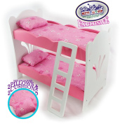 Matty's Toy Stop 46cm Doll Furniture Pink/White Wooden Bunk Beds with 2 Pillows, 2 Cushions & Ladder - Fits American Girl Dolls