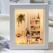 Kisoy Romantic and Cute Dollhouse Miniature DIY House Kit Creative Room Perfect DIY Gift for Friends,Lovers and Families