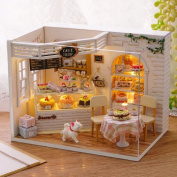 Kisoy Romantic and Cute Dollhouse Miniature DIY House Kit Creative Room Perfect DIY Gift for Friends,Lovers and Families(Cake Diary)Plus Dust Proof Cover