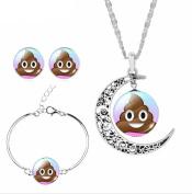 Funny Poop Emoji Necklace & Bracelet & Earrings Emoji Jewellery Set for Women Girls Kids Party Favours