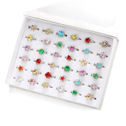 PinkSheep Princess Colourful Rhinestone Rings , 36PCS, Sparkle Adjustable, Girl Pretend Play and Dress Up Rings
