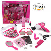 Vogue Beauty Toy Salon Pretend Play Set (14 pcs) with hair clips, straightener, toy lipstick, bottle, carrying bag and more!