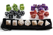 5 x 7 Dice Set - Best for Dungeons and Dragons (DND), Role Playing Games (RPG) and Table Games, . Pouch