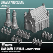Mausoleum Graveyard Scene, Terrain Scenery for Tabletop 28mm Miniatures Wargame, 3D Printed and Paintable, EnderToys