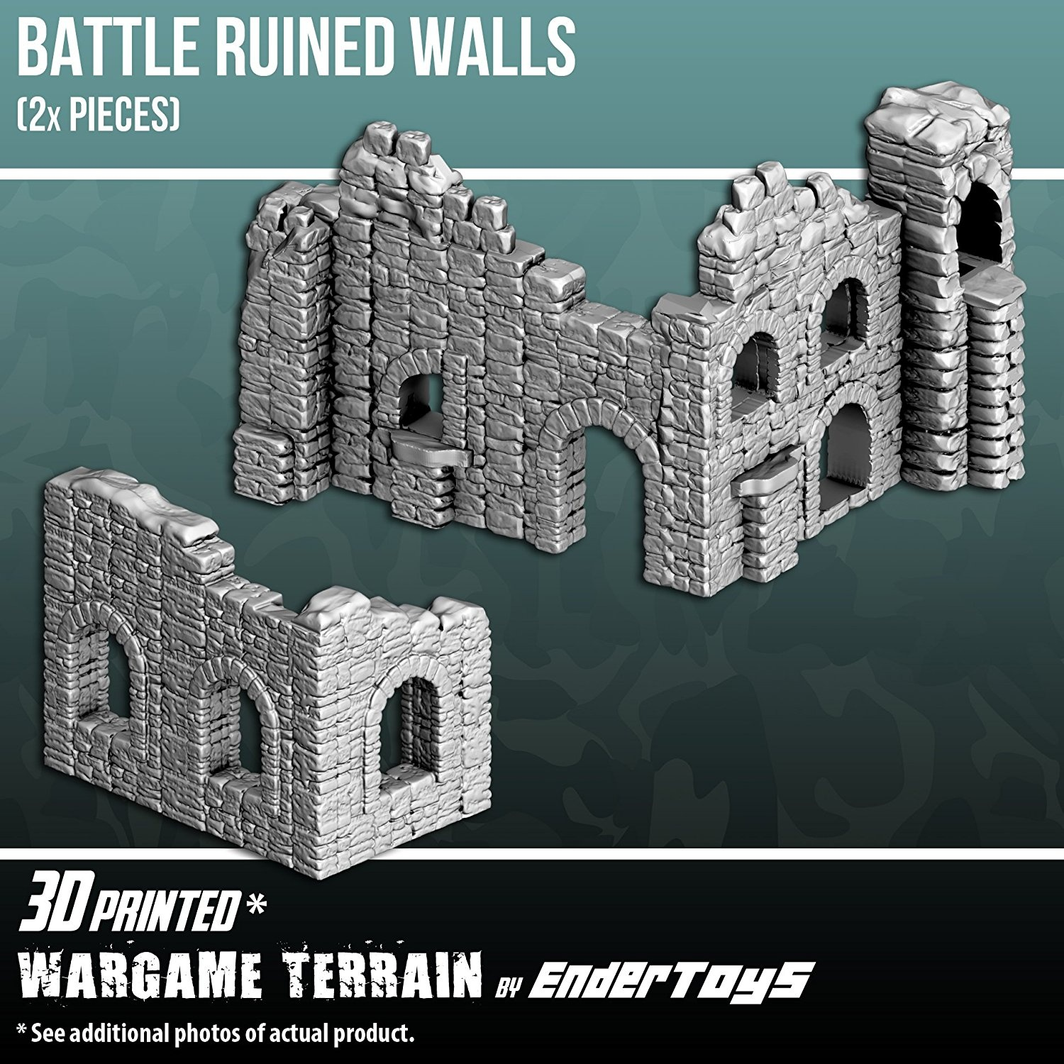 Battle Ruined Walls, Terrain Scenery for Tabletop 28mm Miniatures Wargame,  3D Printed and Paintable, EnderToys