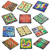 4E's Novelty 12 Bast travel sized board games. These Magnetic Games Set Contains all of your classic favourites
