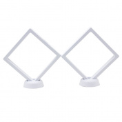 2087 AA Medallion Challenge Coin Chip Floating Display Stand Holder, Clear 3D PET Suspension Jewellery Showcase, Set of 2